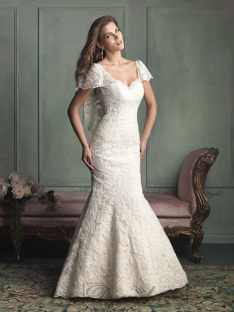 Nozze - Unique Short Butterfly Sleeves Mermaid Wedding Dresses with V-back