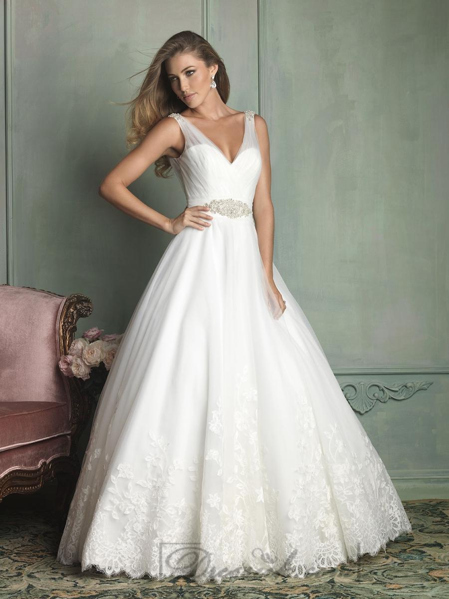 Sheer Straps V Neck And V Back Ball Gown Wedding Dresses