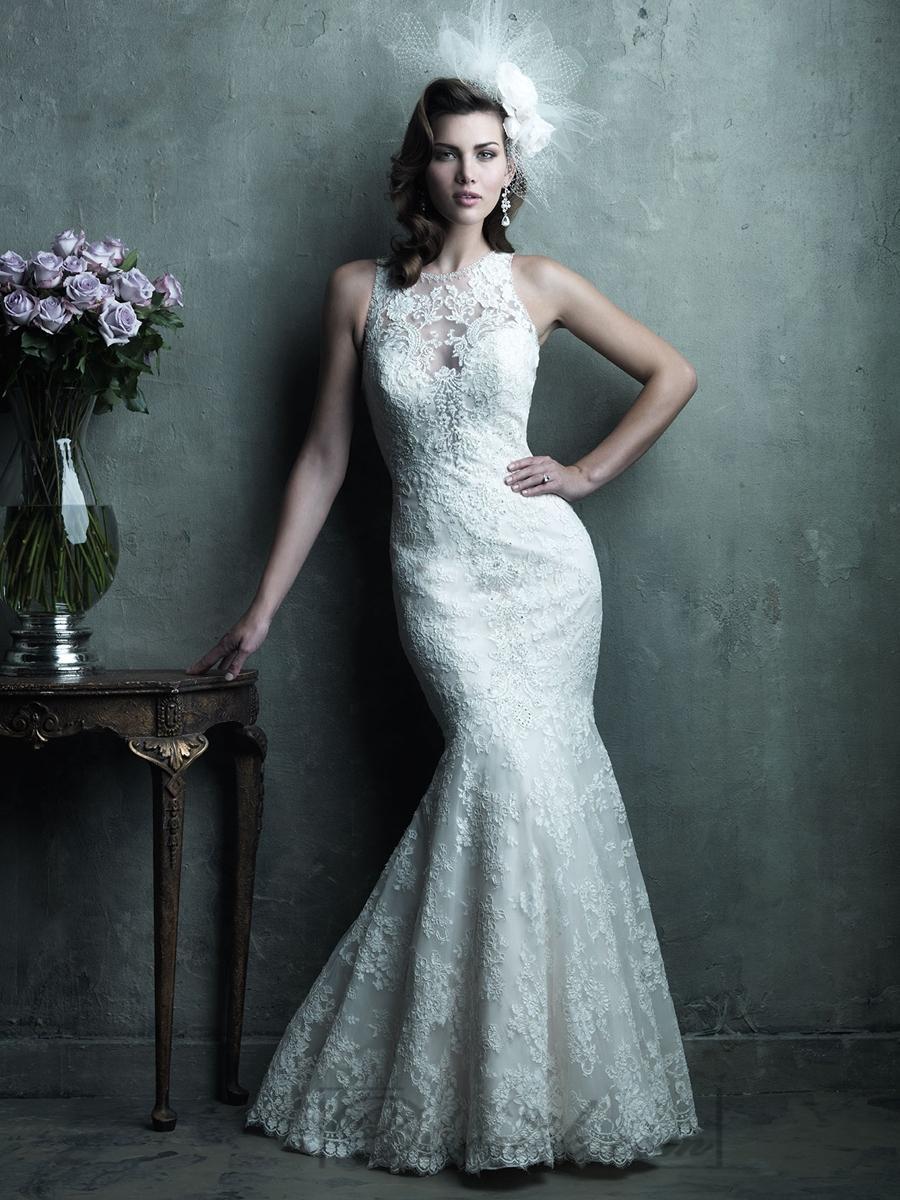 Mariage - Gorgeous Sheer Illusion Neckline & Back Mermaid Lace Wedding Dresses