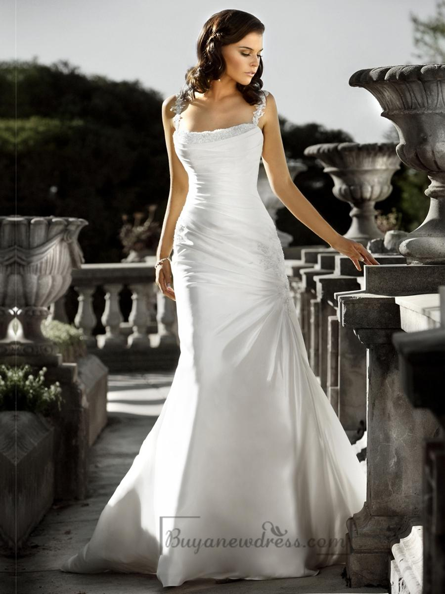 Beaded Spaghetti Staps Ruched Bodice Square Neckline Simple Wedding
