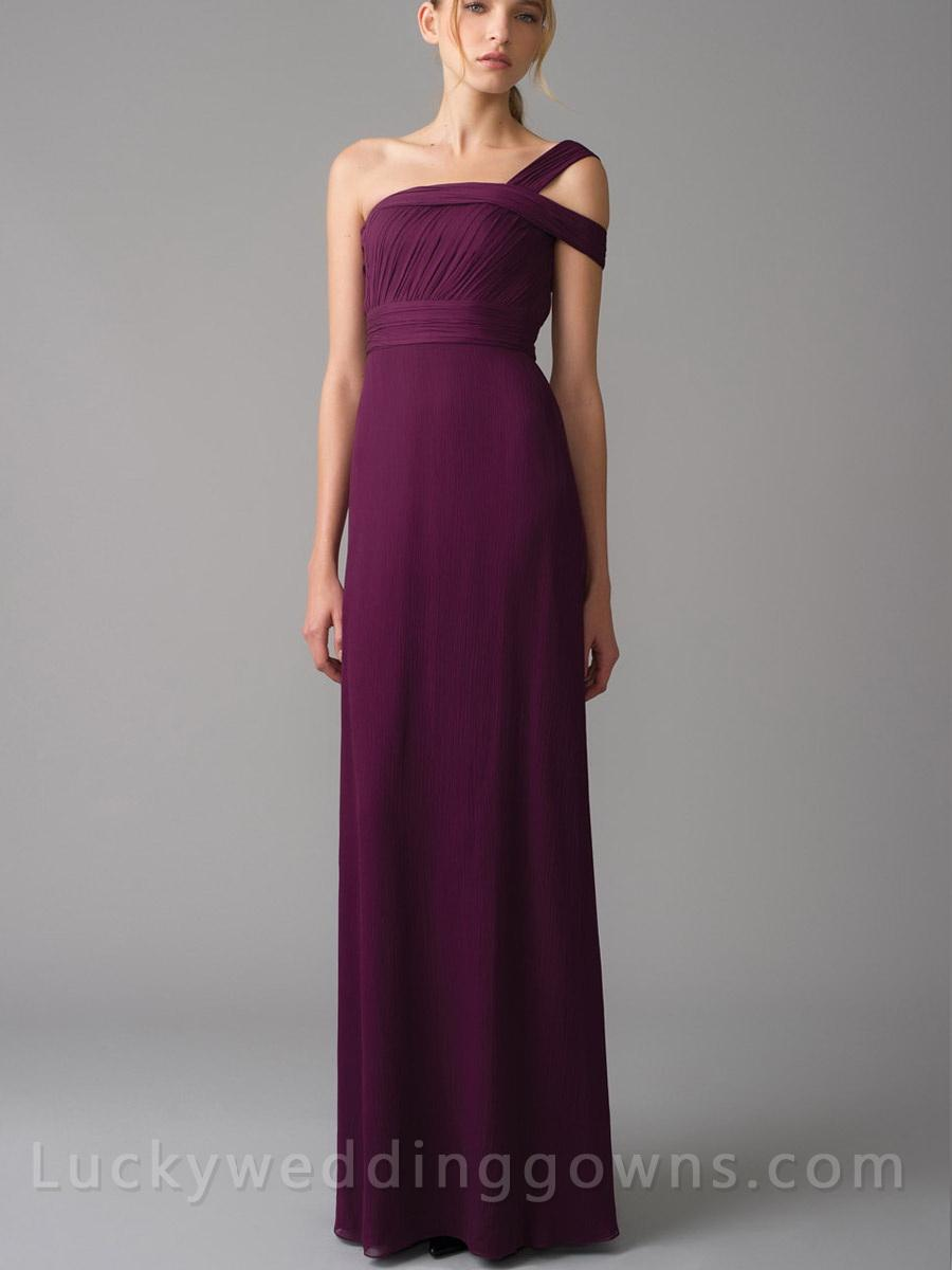 Eggplant one shoulder grecian chiffon long bridesmaid for Grecian chiffon wedding dress