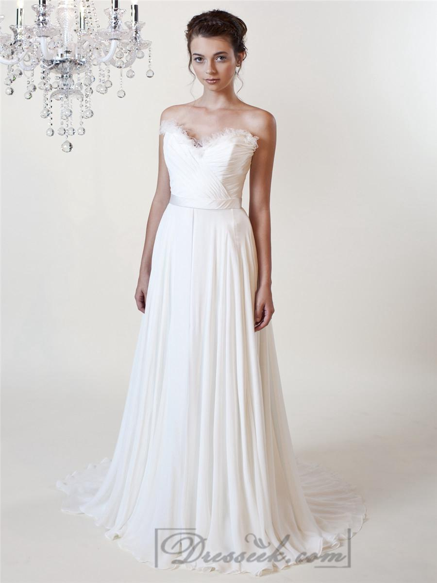 Wedding - Sheath Ruffled Sweetheart Wedding Dresses with Draped Skirt