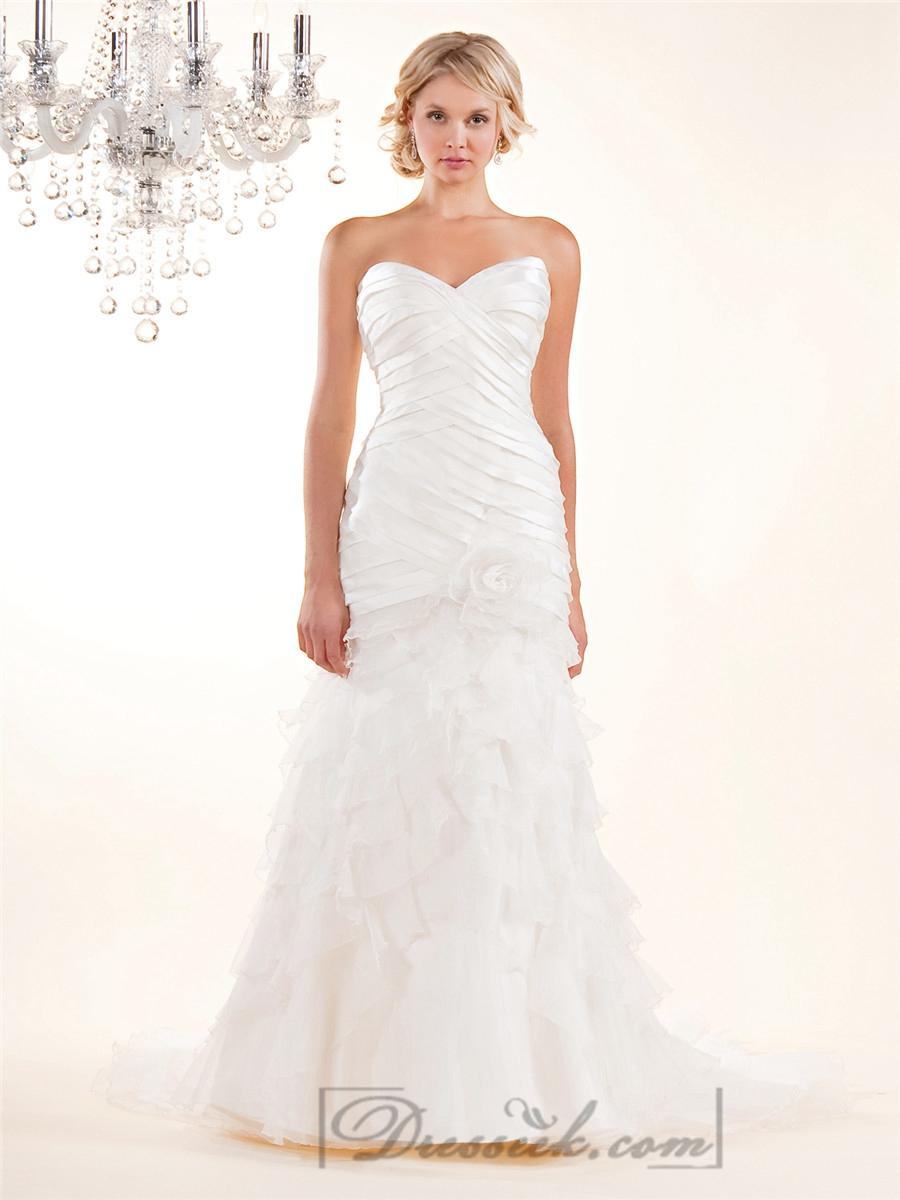 Strapless Sweetheart Wedding Dresses With Pleated Bodice And Layered Skirt: Pleated Bodice Strapless Wedding Dress At Reisefeber.org