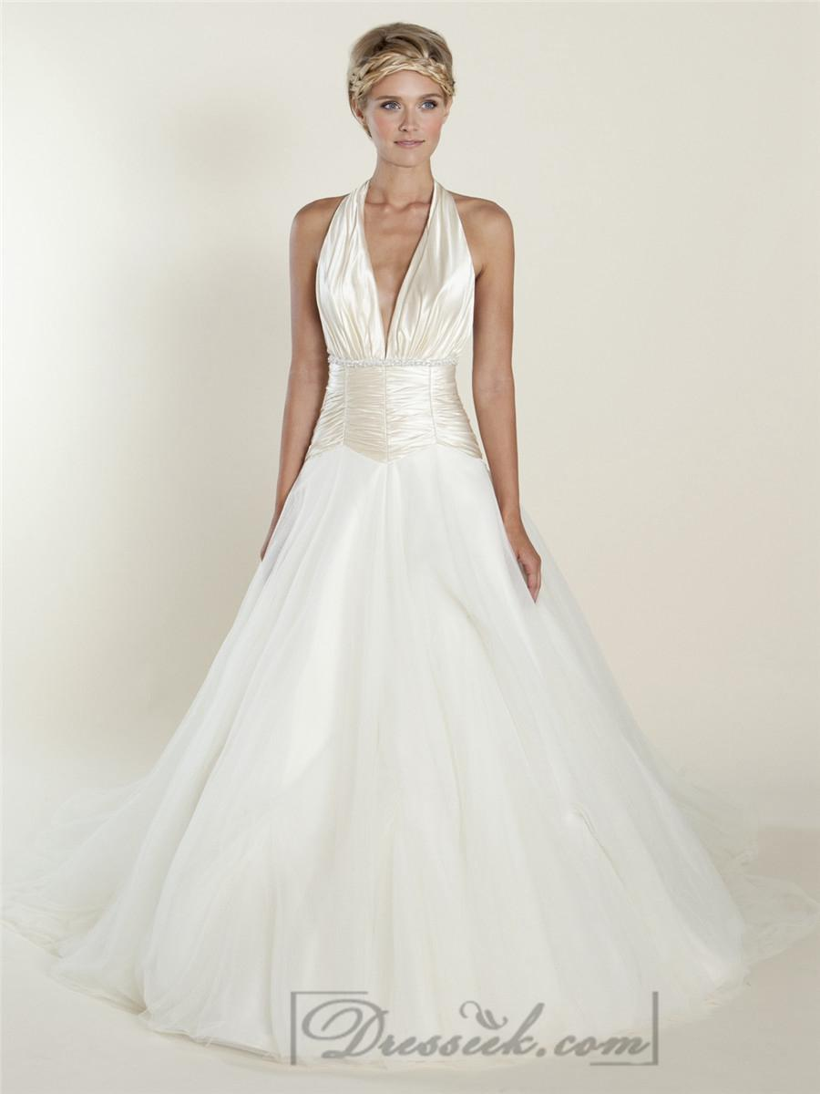 A Line Plunging Halter Ball Gown Wedding Dresses With Ruched Bodice
