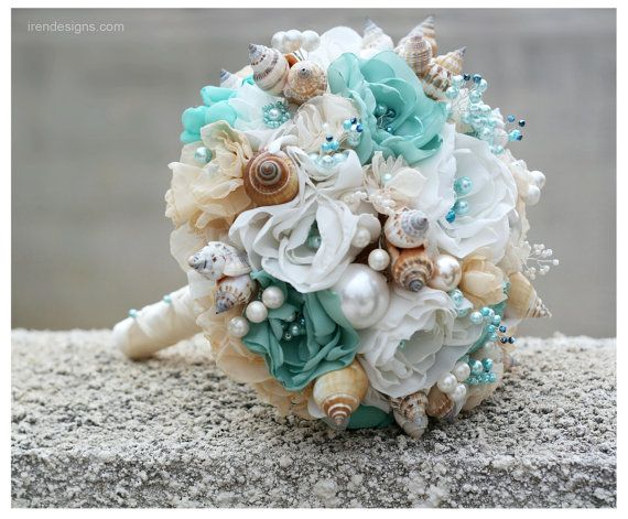 Seashells Wedding Bouquet For Beach Turquoise And Beige