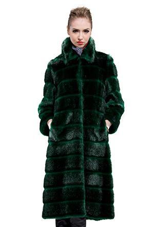 Wedding - Dark green faux beaver fur long fur coat