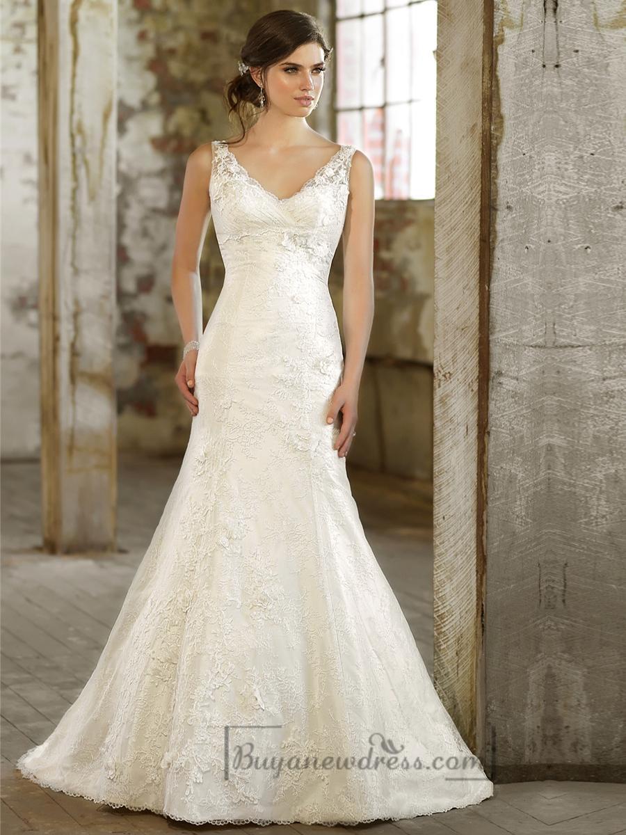 Lace over straps v neck trumpet wedding dress 2197923 for Trumpet wedding dresses with lace
