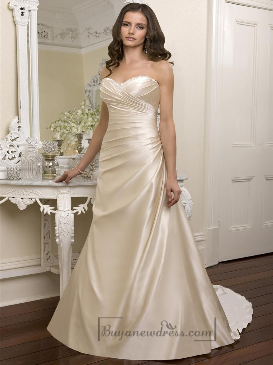 Elegant beaded sweetheart cross bodice wedding dresses for Cross back wedding dress