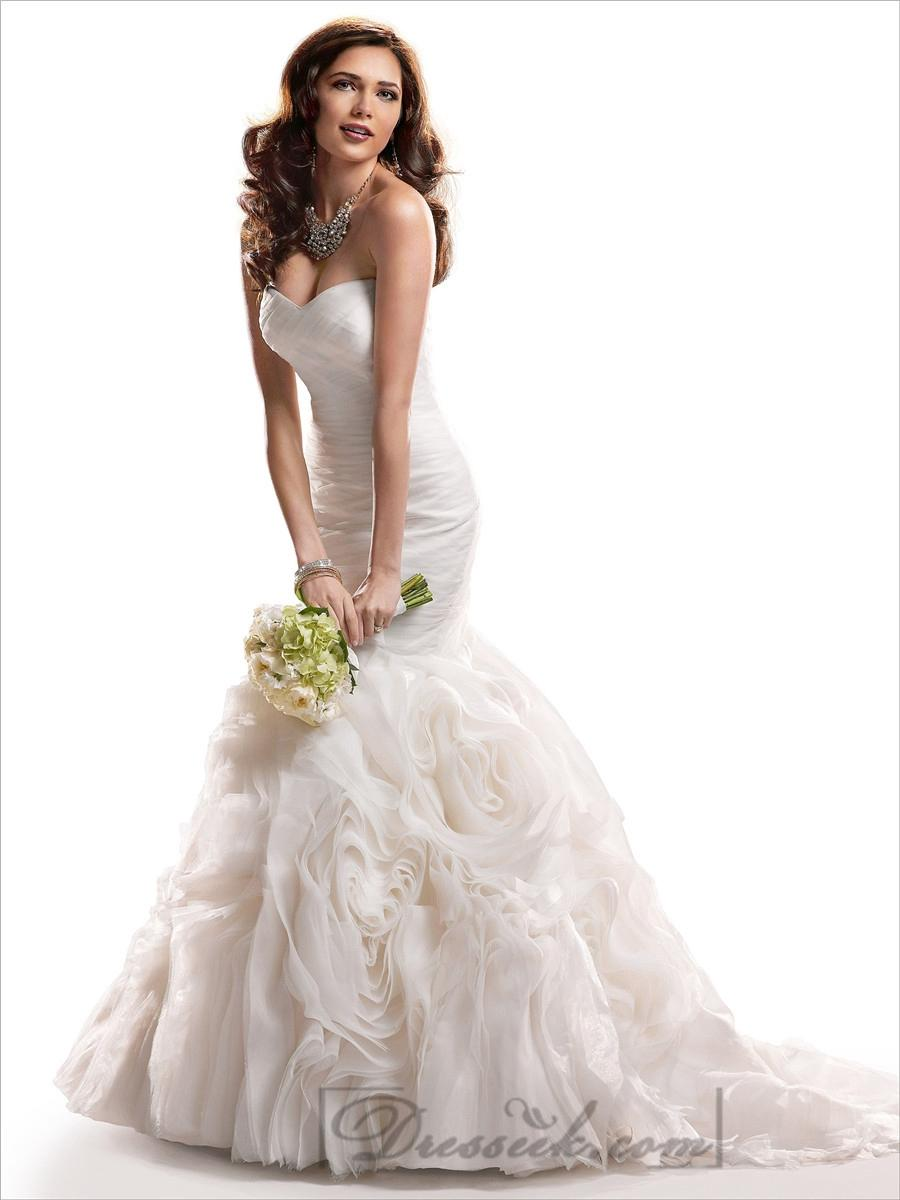 Свадьба - Fit and Flare Ruched Sweetheart Wedding Dresses with Rosette Skirt