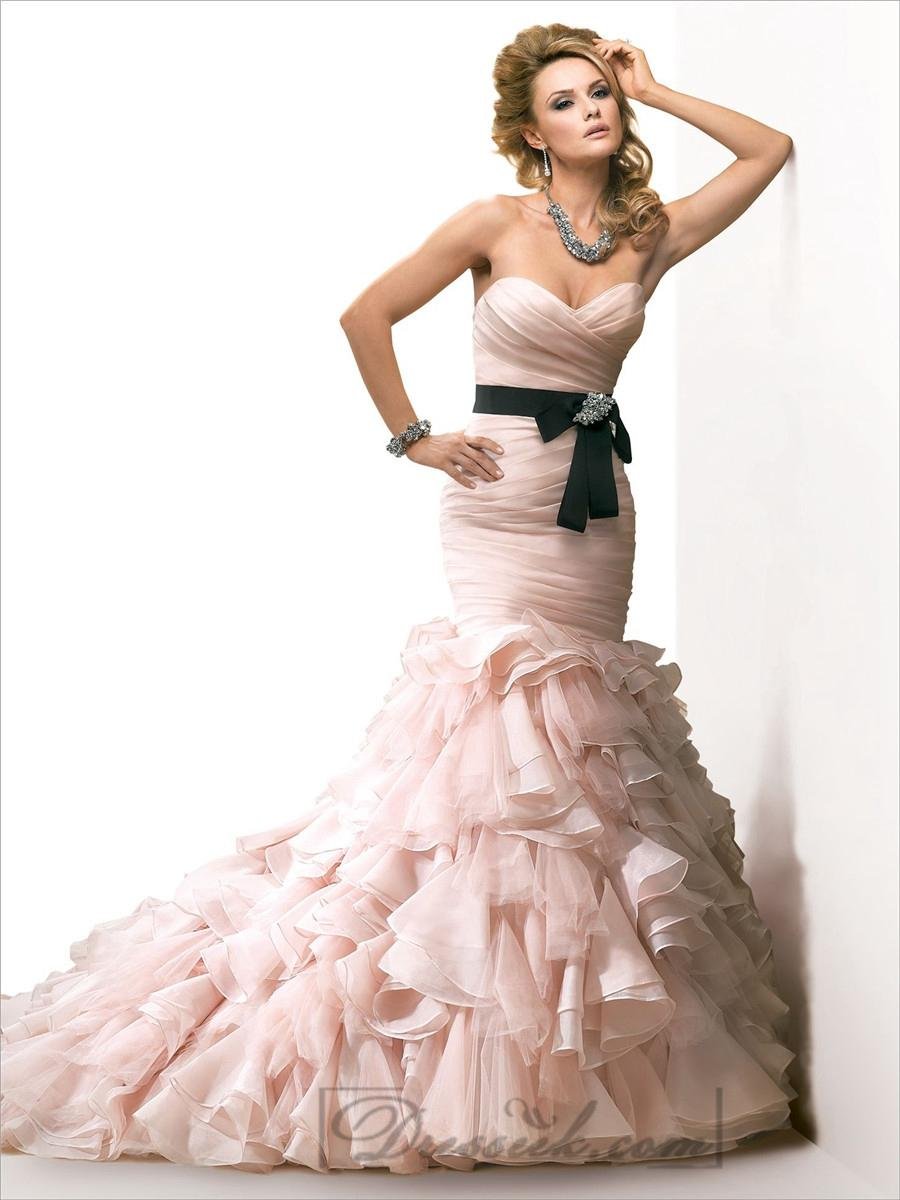 Organza pink ruched sweetheart wedding dresses with for Organza layered wedding dress
