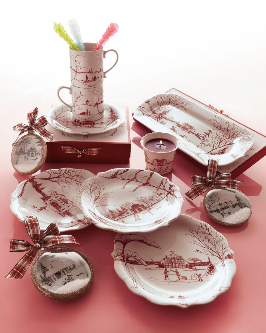 "Mariage - Juliska				 		 	 	   				 				Four Ruby ""Winter Frolic"" Party Plates"