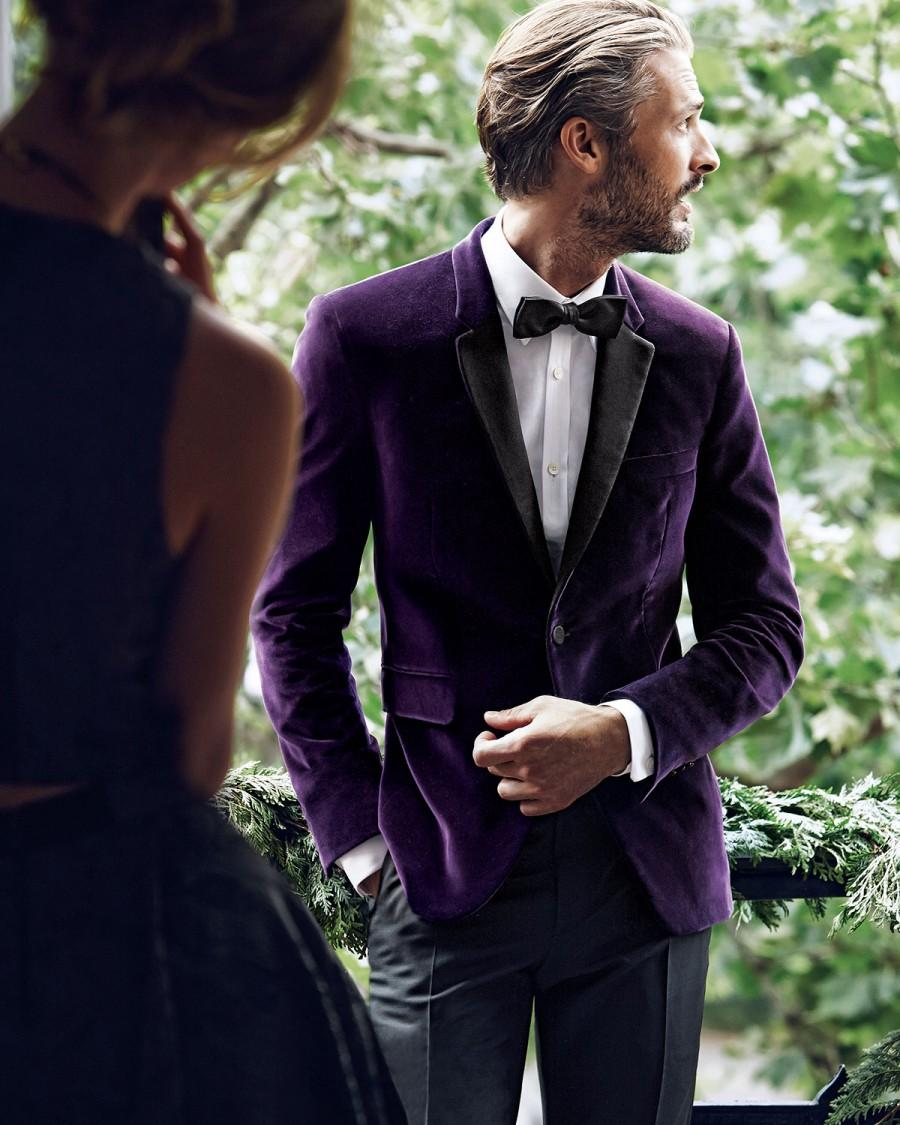 Свадьба - Burberry London       Velvet Evening Jacket, Woven Button-Down Shirt, Wool/Mohair Tailored Trousers & Solid Silk Bow Tie
