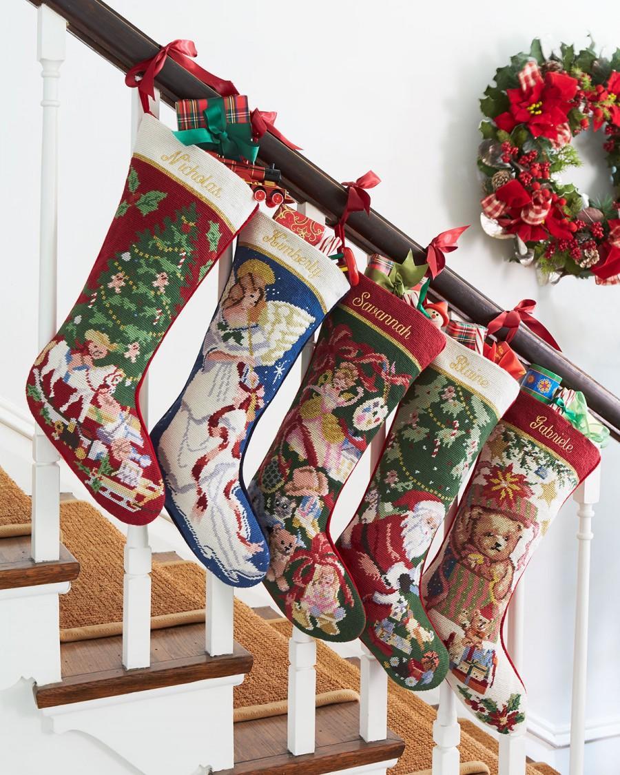 Needlepoint Christmas Stockings.Sferra Holiday Needlepoint Christmas Stockings 2198094
