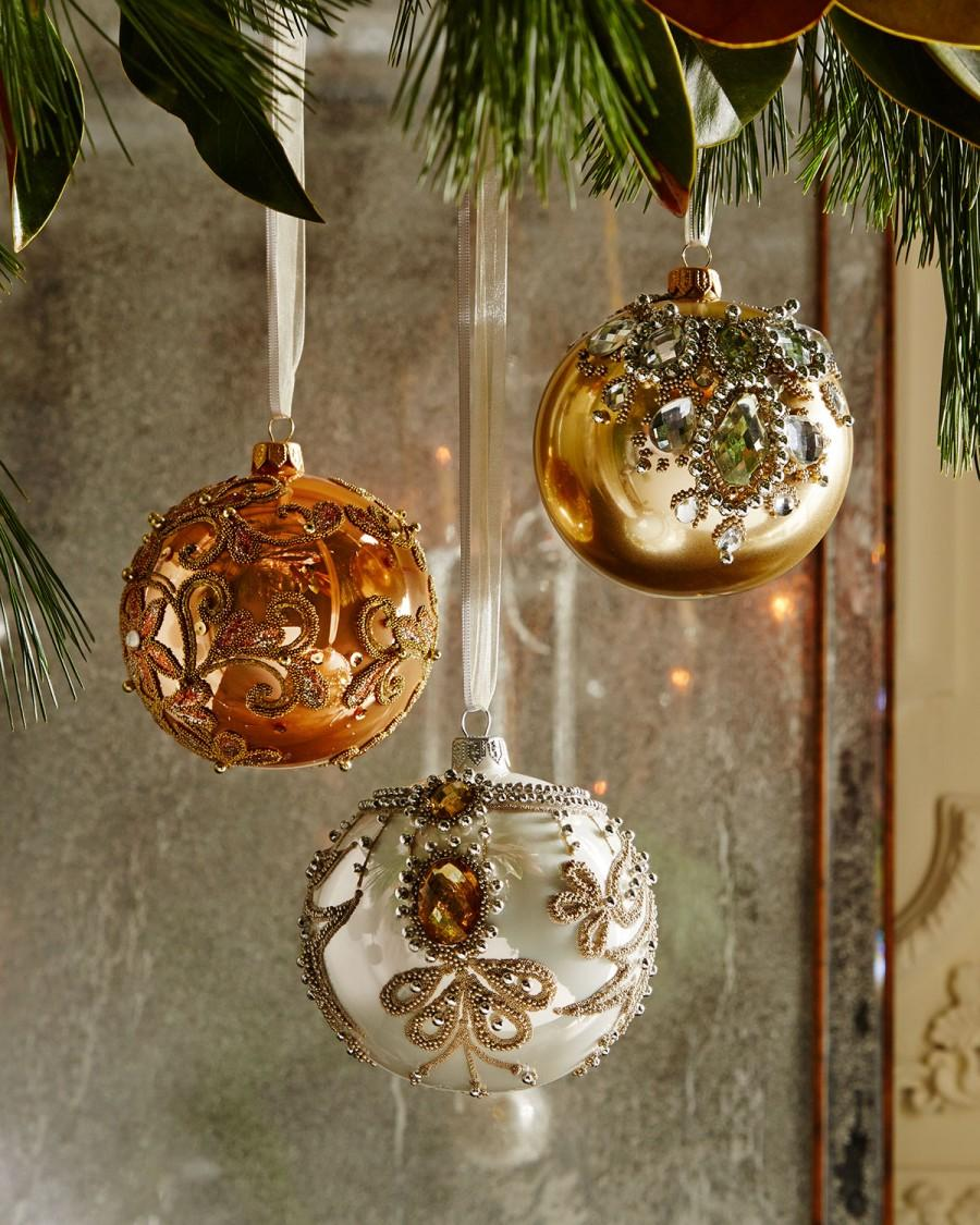 Hochzeit - Golden Bejeweled Christmas Ornaments