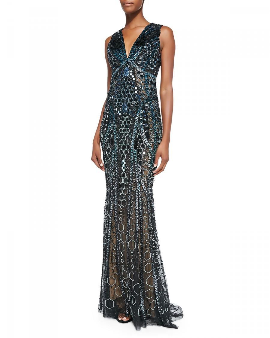 Свадьба - Zuhair Murad          Honeycomb Beaded Sheer Side Gown, Black/Cobalt