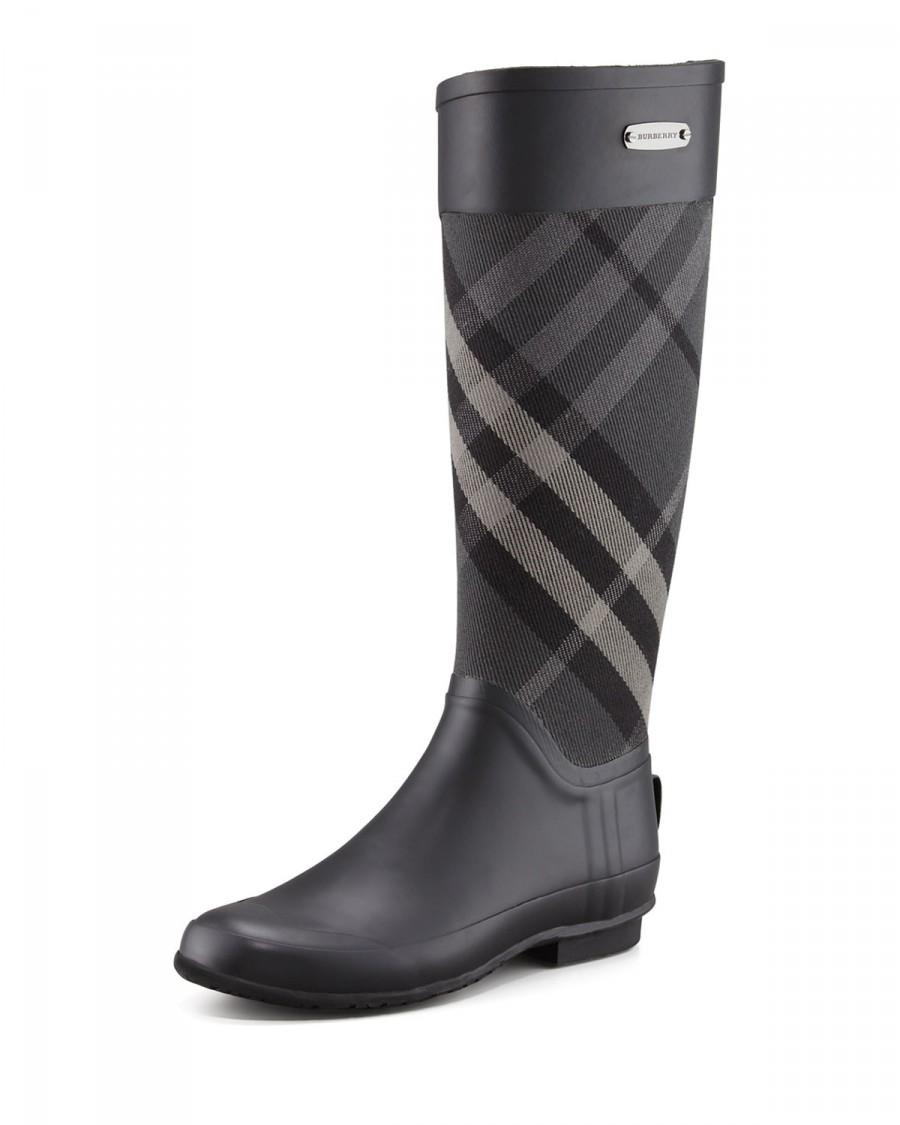Düğün - Burberry				 		 	 	   				 				Mixed Media Rain Boot, Charcoal