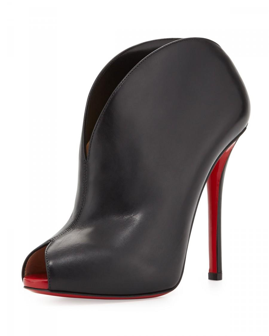 Mariage - Christian Louboutin          Chester Fille Peep-Toe Red Sole Bootie, Black/Red