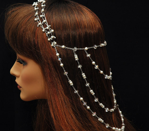 Wedding Pearl Headpiece Bridal The Great Gatsby Head Piece Crystal Chain 1920s Hair Jewellery