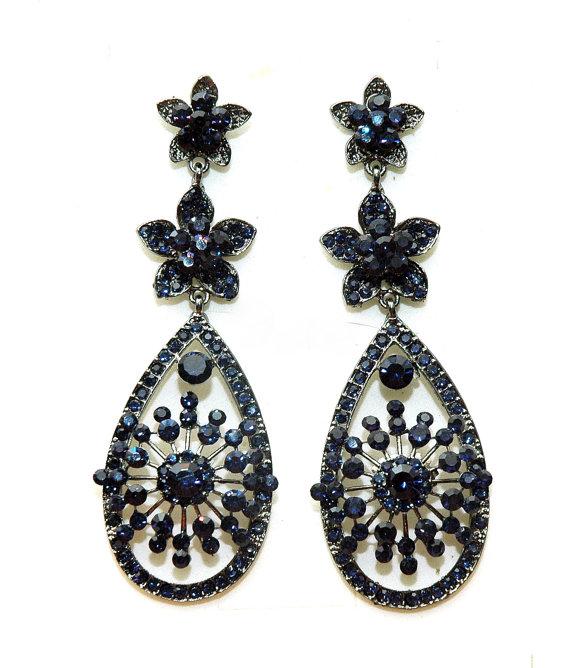 Свадьба - Royal Blue Earrings Rhinestone Chandelier Earrings,Crystal Long Earrings, Gifts for her, Women Gift,Christmas Gift,Black friday cyber monday