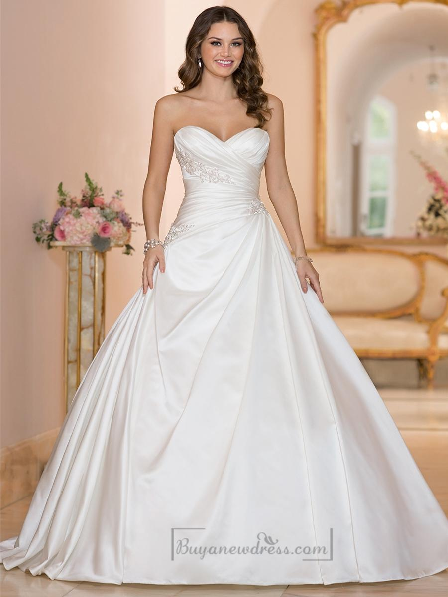Sweetheart ruched bodice princess ball gown wedding for Princess ball gowns wedding dresses