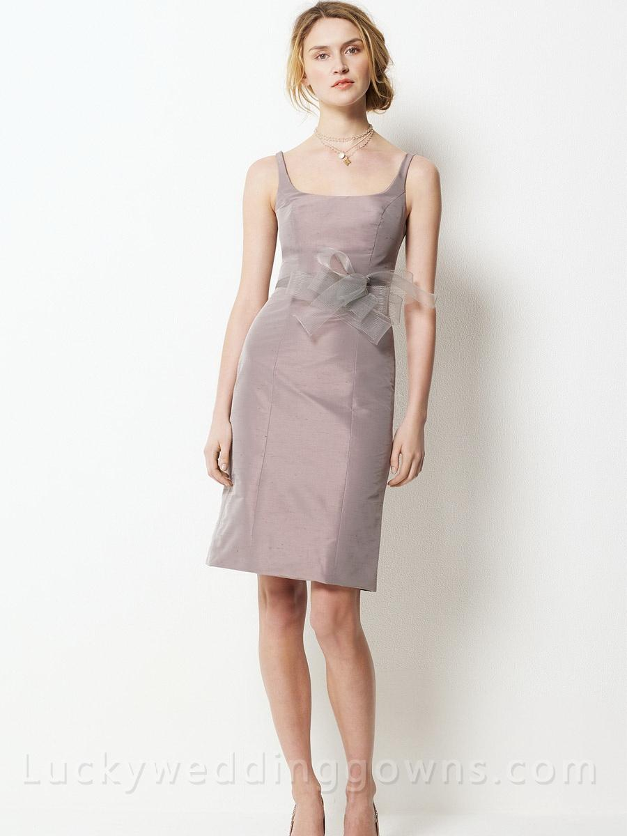 chagne silk bridesmaid dress with knee length skirt and