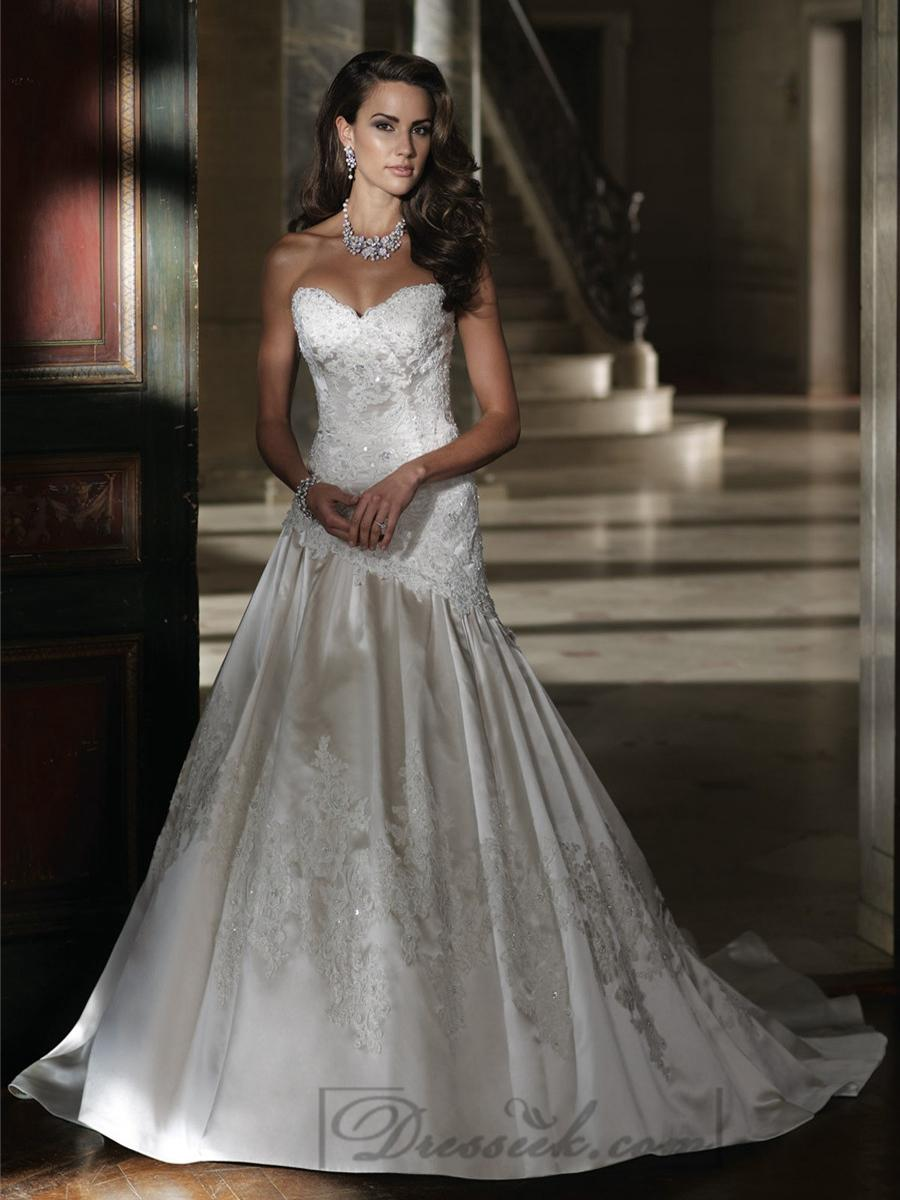 Wedding - Strapless A-line Sweetheart Lace Applique Beaded Wedding Dresses