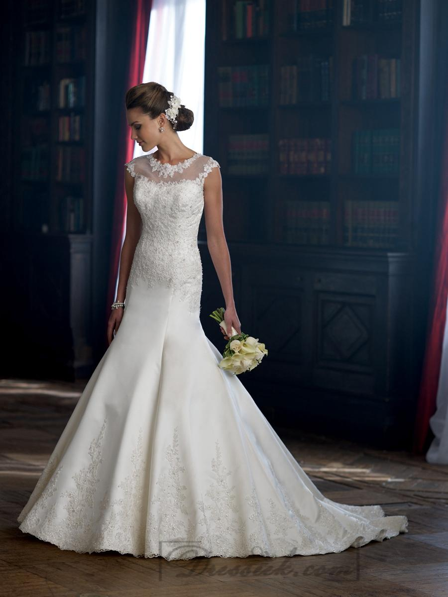 Drop cap sleeve a-line wedding dresses