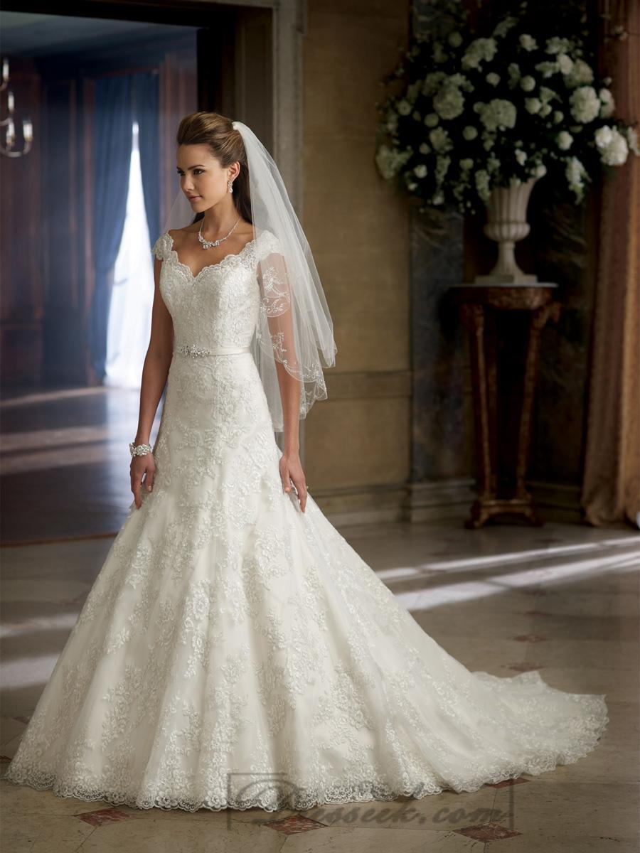 Wedding - A-line Cap Sleeves V-neck and V-back Wedding Dresses