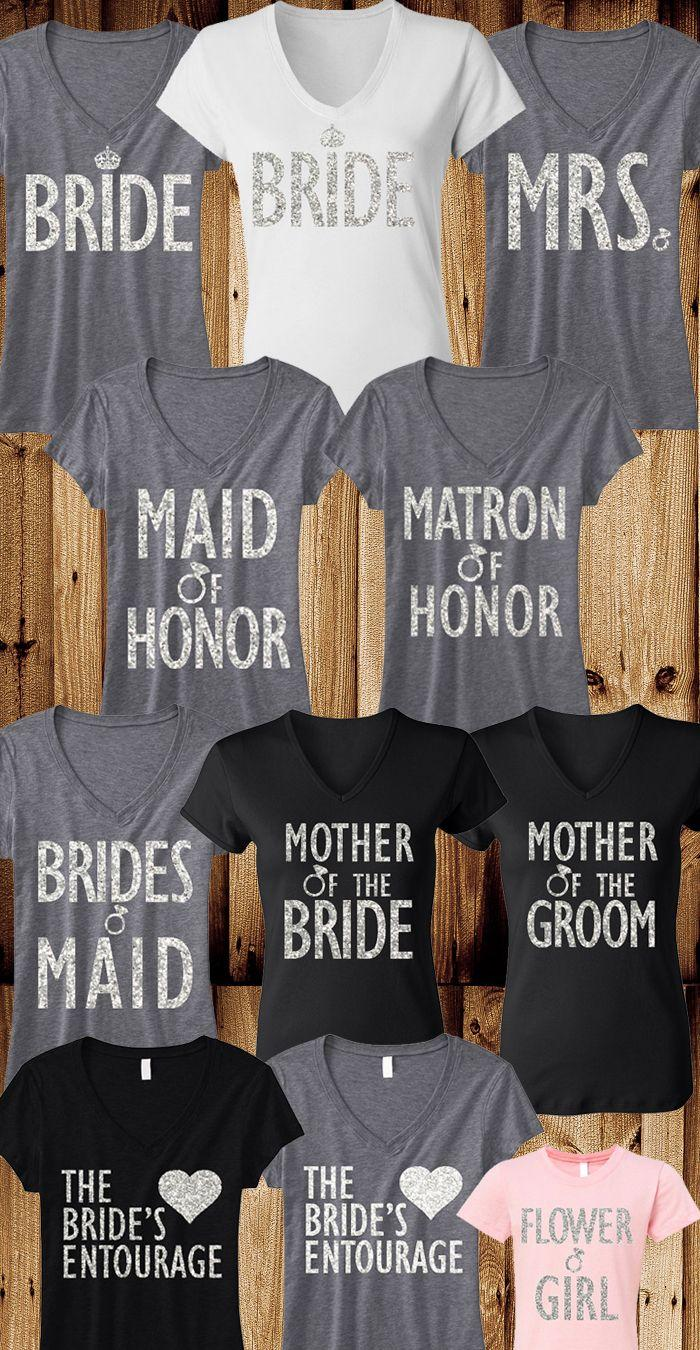 Hochzeit - BRIDE WEDDING 8 SHIRTS 15% Off Bundle, Mrs Shirt, Bridesmaid Shirt, Maid Of Honor Shirt, Wedding, Mrs, Bridesmaid, Maid Of Honor, Bridal