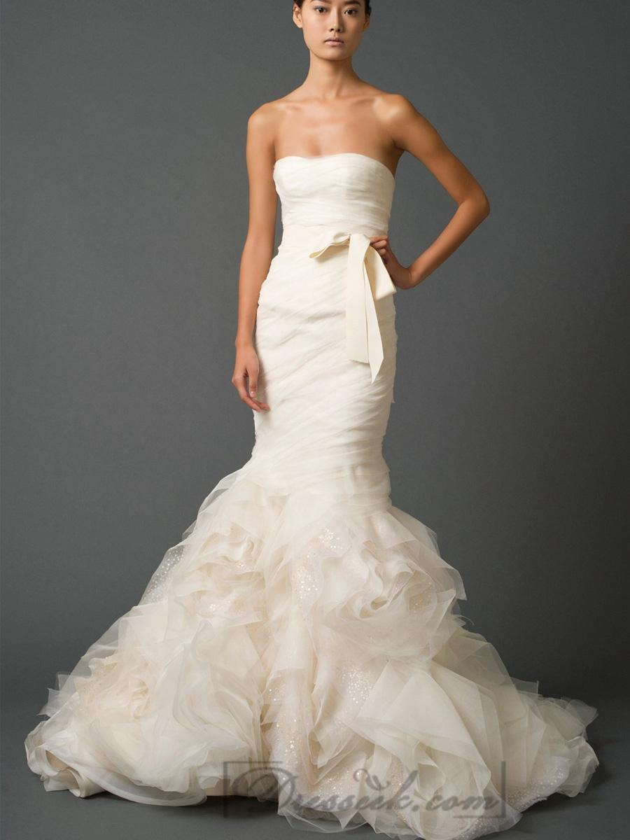 Hochzeit - Strapless Sweetheart Trumpet Pleated Wedding Dresses with Low Back