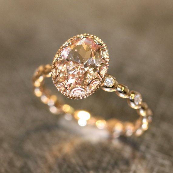 Mariage - Floral Morganite Engagement Ring In 14k Rose Gold Diamond Pebble Ring 9x7mm Oval Pinkish Peach Morganite Wedding Ring (Bridal Set Available)
