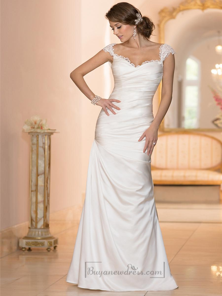 Wedding - Classic Illusion Cap Sleeves Sweetheart Ruched Bodice Wedding Dresses