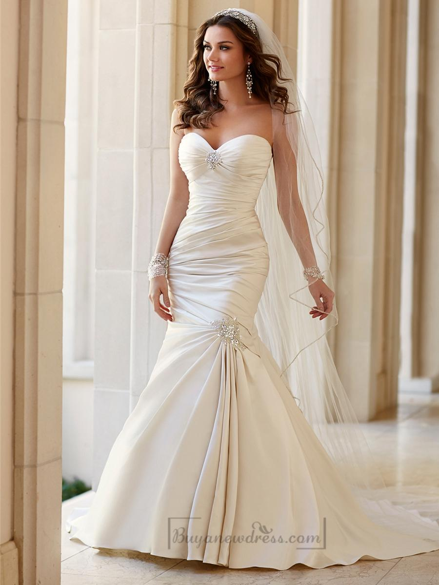 Wedding - Embellishment Sweetheart Neckline Asymmetrical Ruched Fit and Flare Wedding Dresses