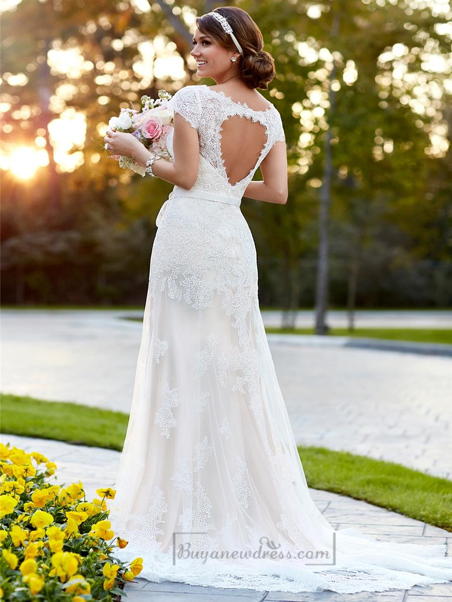 Mariage - Lace Over Illusion Cap Sleeves V-neck Wedding Dresses with Keyhole Back