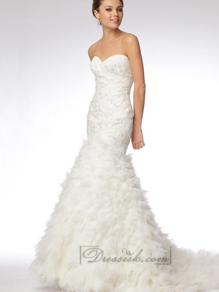 Trumpet strapless sweetheart embroidered lace and tulle for Tulle trumpet wedding dress