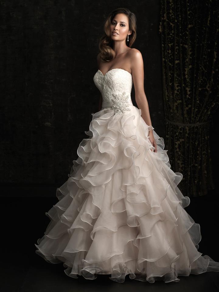Strapless a line sweetheart floor length wedding dresses for A line ruffle wedding dress