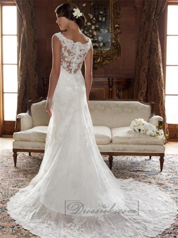 popular line neck wedding dresses
