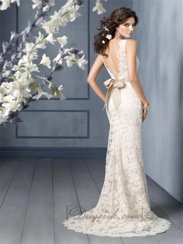 Scallop Bateau Neckline A Line Lace Open Back Wedding Dresses With