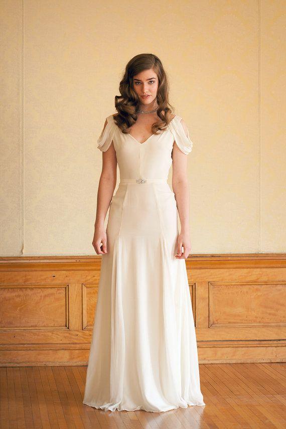 Wedding - Ivory Silk Crepe Wedding Gown - Vintage Inspired Handmade Gown - Astrid