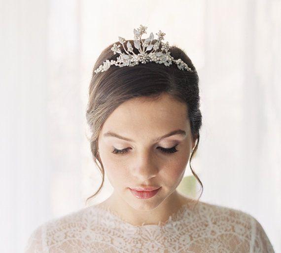 Hochzeit - Jeweled Tiara Enamel Rhinestone Freshwater Pearl - Clementine Style 1909