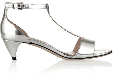 Hochzeit - Miu Miu Metallic leather T-bar sandals