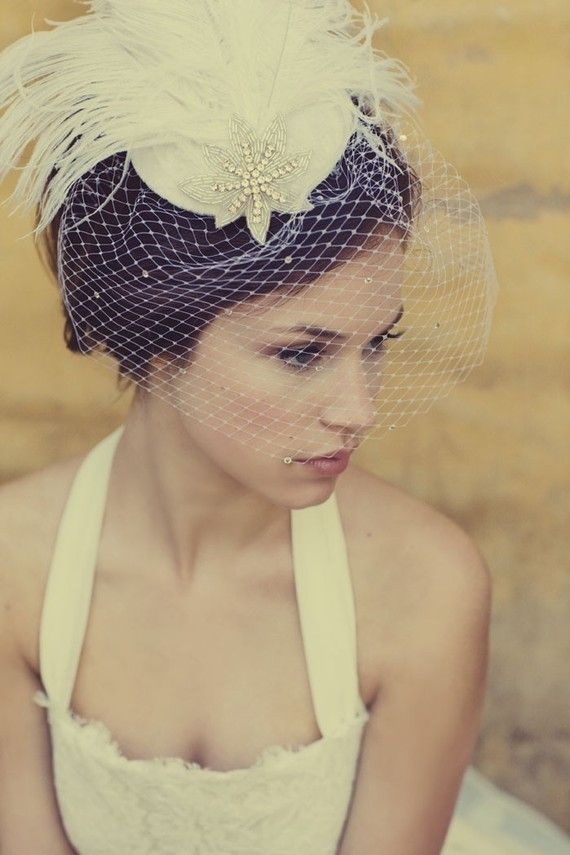 Mariage - Ivory White Birdcage Veil, Feather Fascinator, Silver Beaded Star, Head Piece, Bridal, Woman's Hat, Unique Bridal, Batcakes Couture