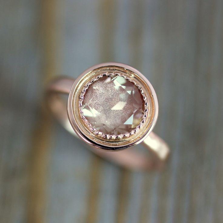 زفاف - 14k Rose Gold And Oregon Sunstone Halo Ring, Vintage Inspired Milgrain Detail, Made To Order