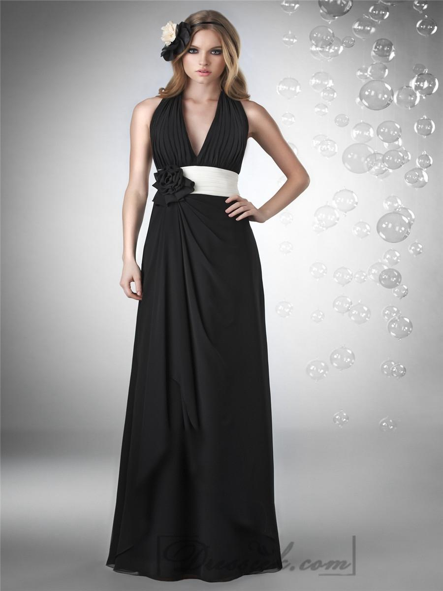 Свадьба - Halter V-neck Shirred Bust Backless Bridesmaid Dresses