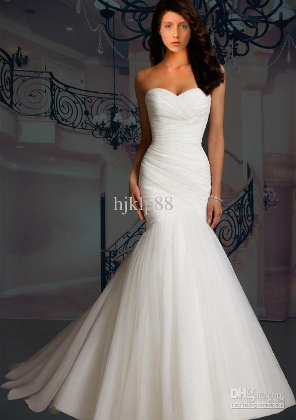 Cheap wedding dresses discount strapless mermaid tulle for Where to buy cheap wedding dresses online