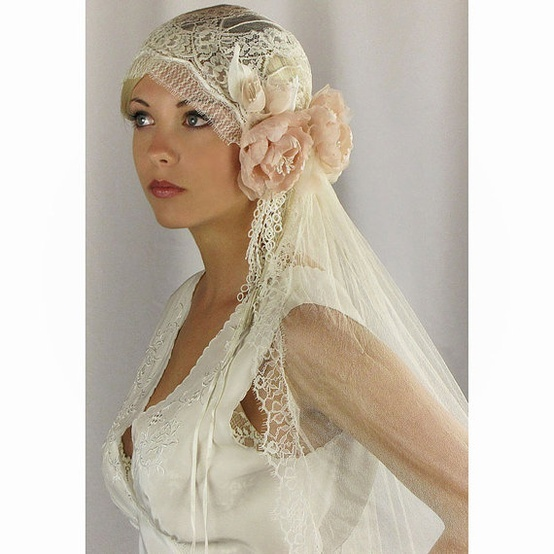 Juliet Bridal Cap Veil Wedding Hair Piece Silk Chantilly Lace Style 740