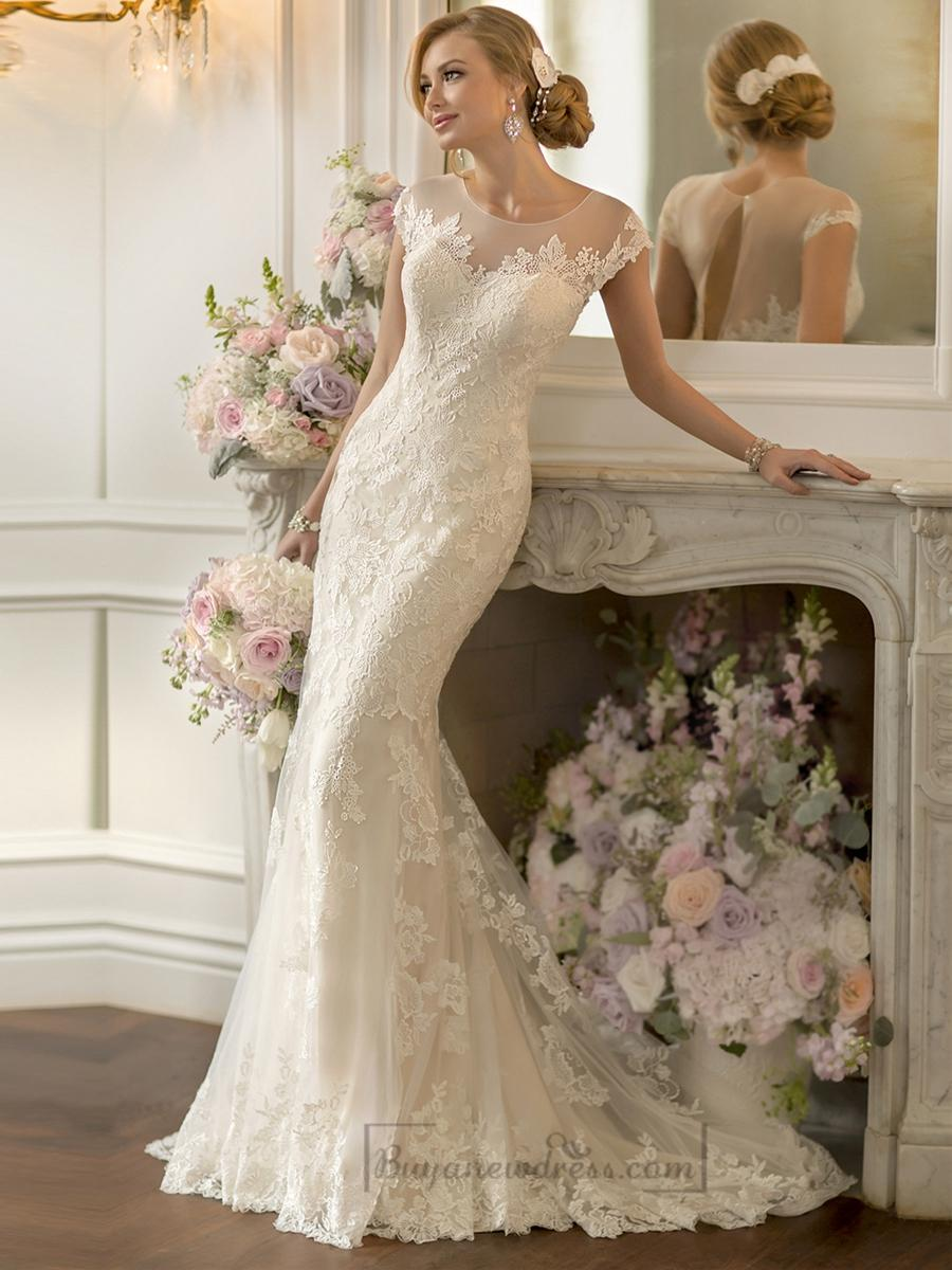 Lace Over Sheer Short Sleeves Illusion Keyhole Back Wedding Dresses