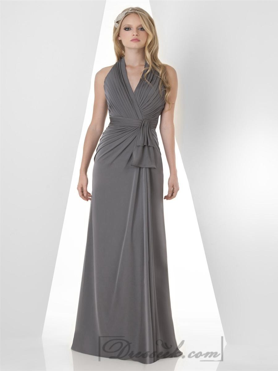 Свадьба - Charcoal Halter Shirred Bodice Bridesmaid Dresses