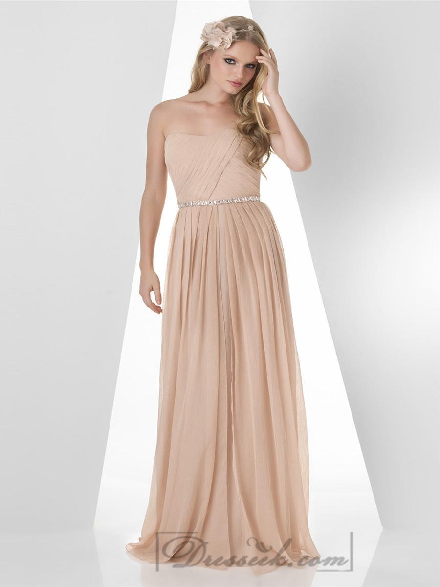 Свадьба - Strapless Pleated Bodice Beaded Waist Bridesmaid Dresses