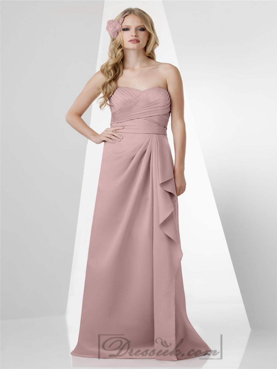 Wedding - Strapless Sweetheart Shirred Bust Ruffled Side Bridesmaid Dresses